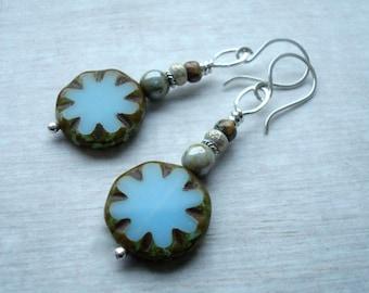 Boho Earrings - Blue Earrings - Long Earrings - Sterling silver earrings - Long Earrings - Rustic jewellery - Brown earrings - Gift for her