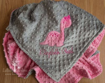 Personalized Minky Baby Blanket, Appliqued Dinosaur Minky Baby Blanket, Baby Girl Blanket, Personalized Baby Gift, Dinosaur Baby Blanket