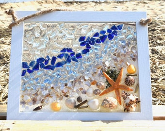 Standing by the Ocean~ Starfish~Beach Glass -Dark Blue water~white frame~size 12x10 Sun Catcher-sand~shell~Ocean beach decor~Ready to Ship