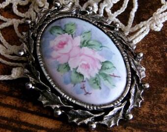 Vintage Handpainted Rose Brooch by avintageobsession on etsy
