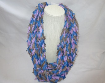 Purple, brown, and blue finger knitted scarf