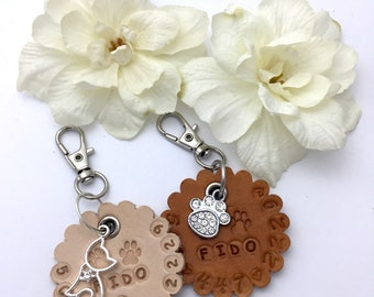 Leather Pet ID Tag, Dog Tag, Cat Tag, Kitty Tag, Pet Tag, Quiet Pet ID Tag - Quiet Pet Tag, Quiet Dog or Kitty Tag w/ Name and Phone Number