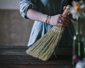 Whisk Broom in your choice of Natural, Black, Rust or Mixed Broomcorn - Hand Broom - Brush - Sweeper