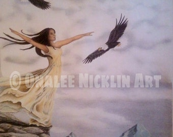 Woman and eagles print of color pencil drawing of woman in mountains with eagles