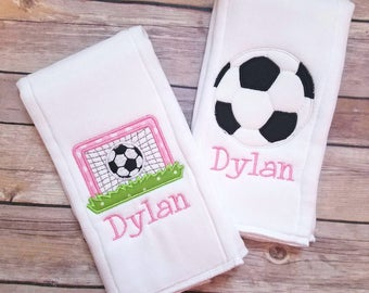 Set of 2 personalized girl burp cloths - Newborn - Baby Shower Gift - Soccer Embroidered Burp Cloth Set - Monogram Baby Girl Burp Cloth Set