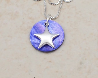 Star Necklace Sterling Silver Dyed Mussel Sea Shell Pendant Box Chain Celestial Moon