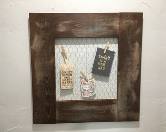 Rustic frame with chicken wire back