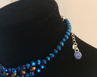 House Color Inspired Crystal Beads Necklace Choker Blue Bronze