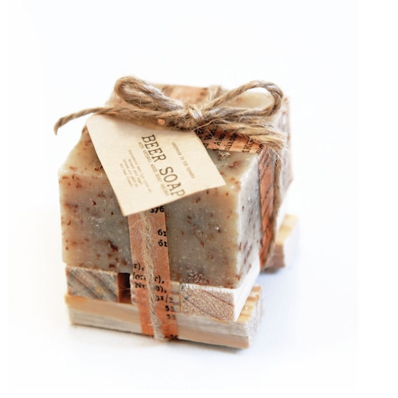 A Lil' BEER Soap with wooden soap dish Gift Set Made In The OZARKS-     Rustic Wedding favors, party favors, client gift, father's day gift