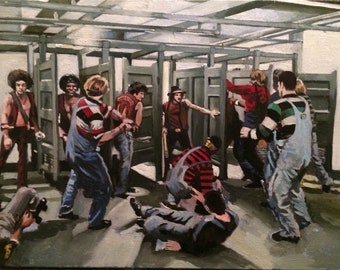 The Warriors Bathroom Fight Oil Painting