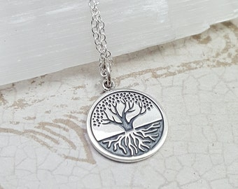 Sterling silver tree of life necklace. Tree and roots necklace. Earth element necklace. Family tree pendant. Yoga jewelry. Roots charm