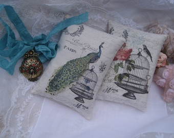 French Peacock Bird Lavender Sachets Gift Set of 2 with Gift Box and Tag, Set of 2 French Inspired Lavender Bird Birdcage Sachets Favors