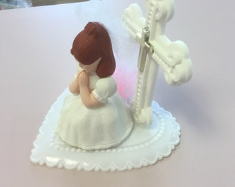 First Holy Communion Girl Cake Topper/ Kneeling First Communion Girl