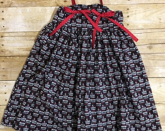 Size 6 Girls Valentines Day Dress - Girls Knot Dress - Little Girls Dress - Valentine Dress for Girls - Girls Dress - Red and Black Dress