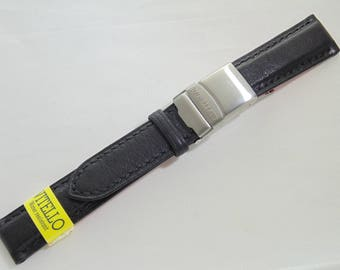 NEW 18mm luxury black Italian leather watch strap/band with deployment clasp