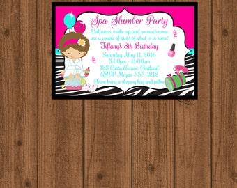 Spa Party Zebra Invitation, Slumber Party Invitation, Pajama Party, Girls Birthday, Printable Invite