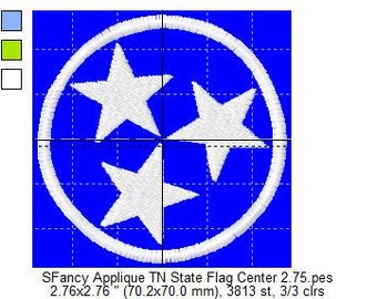 SFancy Applique TN State Flag Center 2 Small