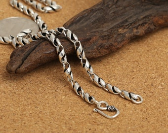 925 sterling silver chain antique silver chain silver statement necklace twisted silver necklace twisted sterling silver necklace