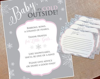 DIGITAL FILE, Baby Its Cold Outside Shower, Snowflake Baby Shower Games, Winter Baby Shower Games, Baby Shower Signs and Games, Baby Flurry