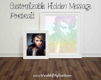 Custom Portrait Text Art. Perfect Personalized Gift for Him, Her, Weddings, Anniversaries, Birthdays, Mementos, Home Decor, Wall Art