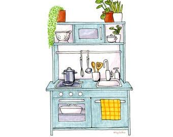 BLUE KITCHEN - Downloadable Digital Art
