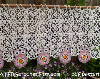 Crochet pattern OWL VALANCE by ATERGcrochet