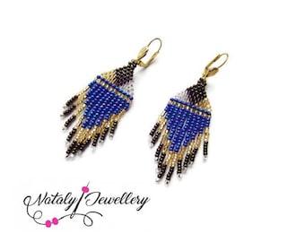 Blue gold earrings Egyptian jewelry Dainty earrings Dangle statement earrings Beaded fringe earrings African party earrings Ethnic jewelry