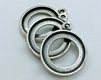 4pc Double Sided Pendants // 18mm // Medium // Bezel // Heavy Antique // Made In The USA by Winky&Dutch