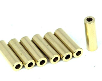 Raw brass tube, 10 pcs 6x20mm (hole 3 mm ) raw brass industrial, raw brass charms, spacer bead 1513