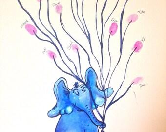 Horton Baby Shower Thumbprint Guestbook Alternative