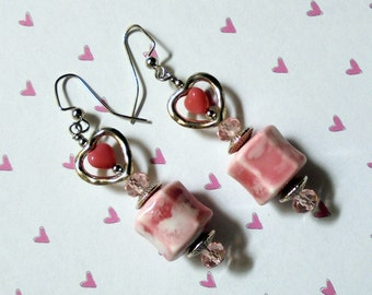 Pink and Silver Valentine Earrings (2437)