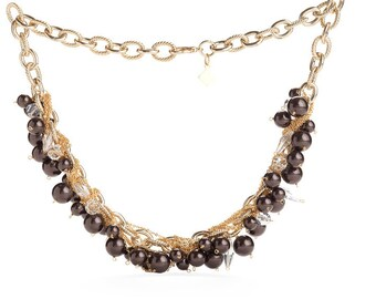 Deep Mocha Pearl Necklace Laced Subtly With Clear Swarovski Crystals