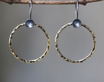 A circle earrings brass in oxidized with sterling silver hooks style