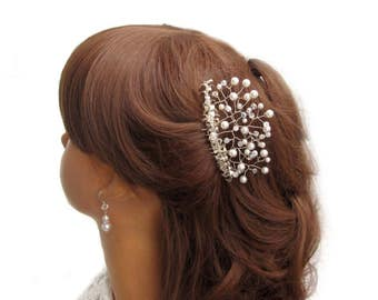 Hair comb on the wedding, Myrtle bridal hair comb, Silver pearls Wedding Crown tiara