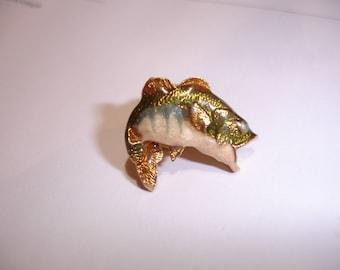 Vintage 3D Fish Pin Tie Pin Hat Cap Badge Tack Lapel Pin Fishing Sporting Husband Gift For Him