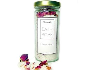 Coconut Rose Bath Soak 8 oz, All Natural Bath Soak, Coconut Milk, Rose Petals, Dead Sea Salt, Moisturizing Bath Salt