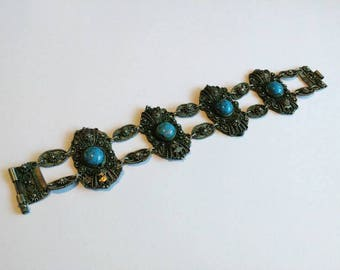 Vintage silvertone glass turquoise bracelet boho hippie