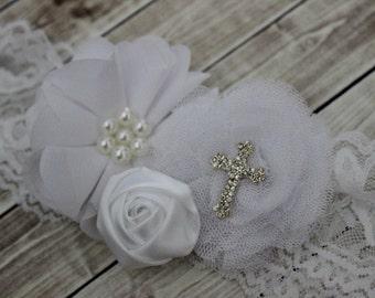White lace Baptism headband, christening headband, baby headband, cross headband, white lace headband, Baptism baby bow