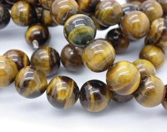 93-94 4 mm brown beige natural Tiger eye beads