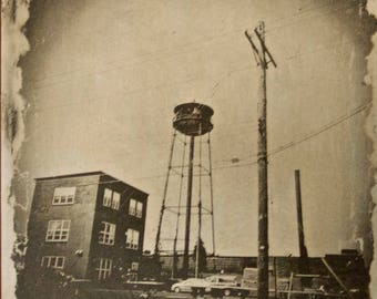 Pinhole Photograph Of The Old ANCO Water Tower In Valparaiso IN Ferrotype On Aluminium Developed In Real Coffee