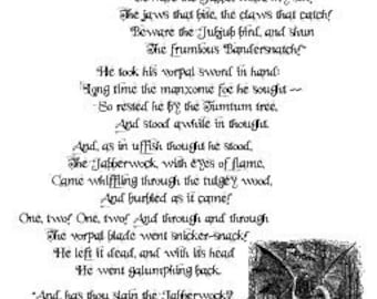 Jabberwocky Lewis Carroll Poem Alice in Wonderland Offset Poster
