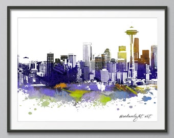 Seattle, Skyline Print, Seattle Skyline, Washington Skyline, Cityscape, Prints, Modern Art, Wall Art, Watercolour Skyline, Urban Print