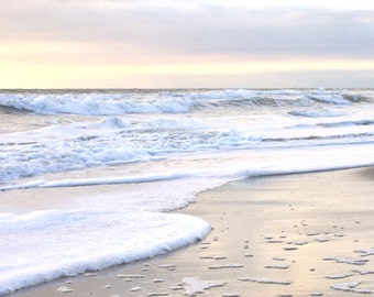 Peaceful ocean beach landscape, white wall art, large seascape photograph, pink grey silver white beach decor, sunset sea foam photo print