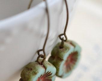 Mint Green Antique Earrings, Czech Glass Beads, Brass, Neo Vintage Jewelry