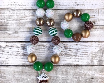 Starbucks Lovers Chunky Bubblegum Necklace, Coffee Necklace, Coffee Jewelry, Starbucks Jewelry, Starbucks Baby Outfit, Kids Starbucks