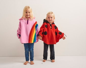 Baby & Kid Pink Rainbow Fleece Poncho - Car Seat Poncho