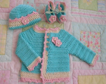 robin baby sweater, baby girl sweater, baby crochet sweater girl, crochet baby sweater set, baby cardigan, infant sweater 0 to 3 months gift