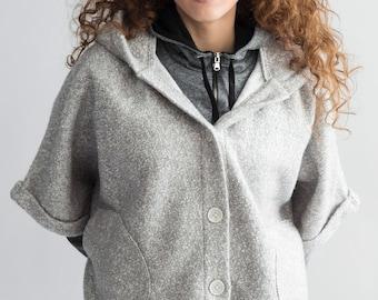 Grey Wool Cape | Button Up | Oversized  Hood | Kimono Sleeves | Pockets | Asymmetrical Hem