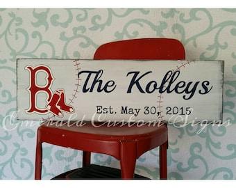 Custom Baseball Team Family Name Sign. Custom Wedding Gift. Gift for Him. Anniversary Gift. Hand Painted Man Cave Sign. Bridal Shower Gift