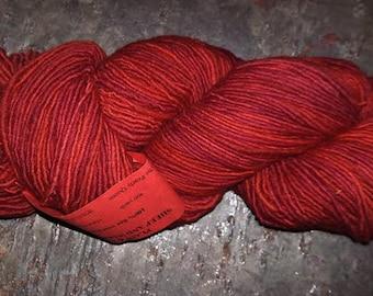 """Plain & Fancy Hand Dyed Wool Yarn """"Red Overdye"""""""